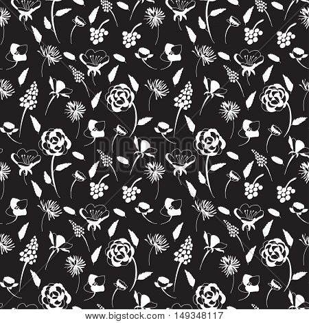 Vector hand drawn seamless pattern with wild flowers. Romance valentines wedding theme. Black and white flower pattern for textile paper book game cards banner web design.