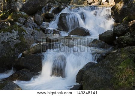 Mountain stream in northern Italy, Europe. Shot taken with long exposure time