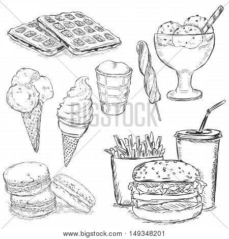 Vector Set Of Sketch Snack Food