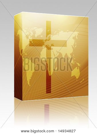 Software package box Christian church cross, religious spiritual symbol illustration