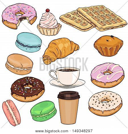 Vector Set Of Cartoon Food Items