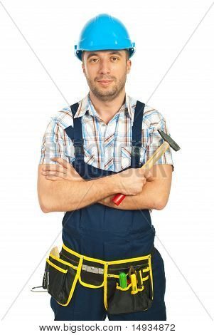 Smiling Mid Adult Workman With Hammer