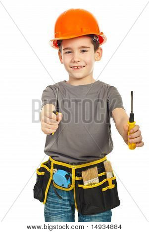 Little Constructor Boy Giving Screwdrivers