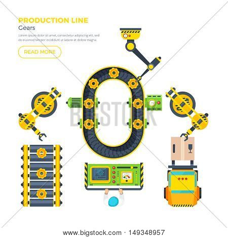 Gear production line with control panel conveyor system and automatic tools top view flat poster vector illustration
