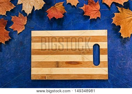 Border recipe frame of fall maple  leaves. Flat lay