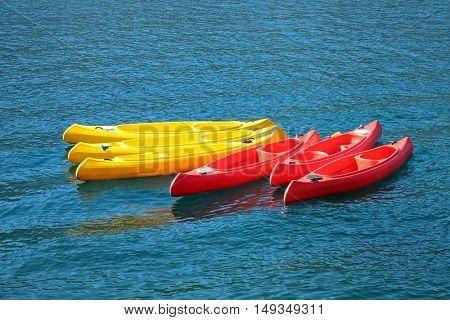 plastic canoes in Kotor Bay, Montenegro