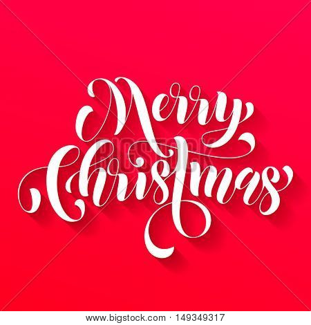 Merry Christmas modern lettering design. Xmas greeting holiday card. Vector hand drawn festive text for banner, poster, invitation on red background.
