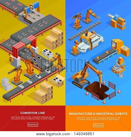Manufacture robots in automotive industry conveyor lines 2 vertical isometric colorful banners webpage design isolated vector illustration