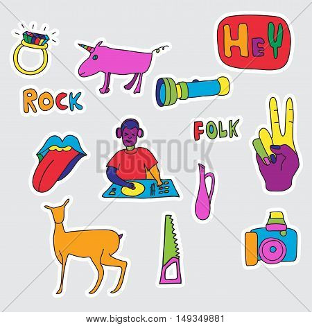 Vector set of patches and stickers. Hand drawn. Fashion cute comic illustration. Pop-art style.