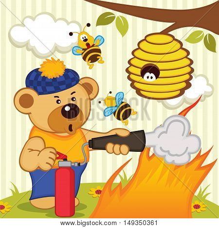 teddy bear extinguishes fire - vector illustration, eps