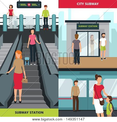 Flat vertical banners with people at subway station waiting for train and walikng through ticket barrier isolated vector illustration