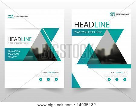 Green triangle Vector annual report Leaflet Brochure Flyer template design book cover layout design abstract business presentation template a4 size design