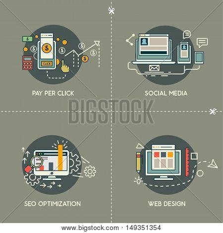 Pay per click, social media, web design, SEO