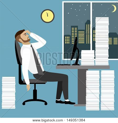 Overworked and tired businessman or office worker sitting at his desk with pile document binders, Business stress. Flat style modern vector illustration