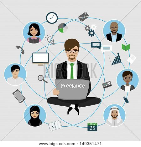 Businessman sitting with laptop, internet work, connecting people. Applications and icons. Vector illustration