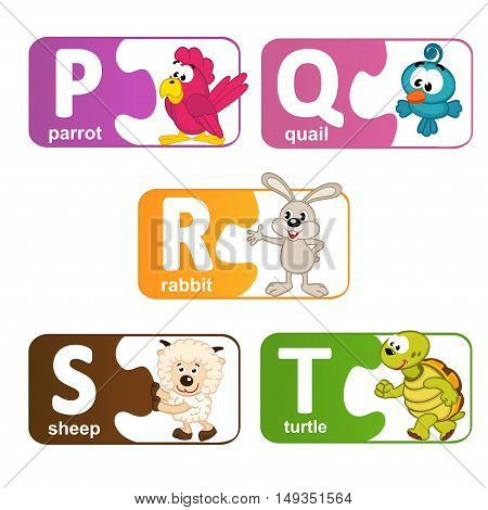 stickers alphabet animals from P to T - vector illustration, eps