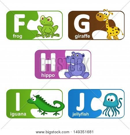 stickers alphabet animals from F to J - vector illustration, eps