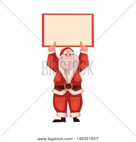 Santa Claus holding a blank board Christmas decoration