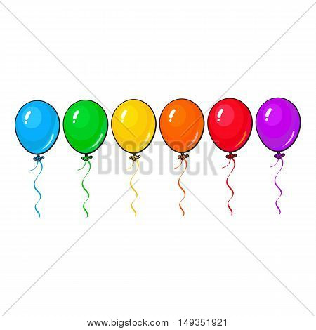 Set of bright and colorful balloons, cartoon vector illustration isolated on white background. Line of multicolored balloons, birthday, party carnival decoration elements