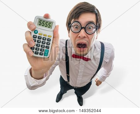 Funny And Crazy Accountant Is Showing Calculator With Debt Writt