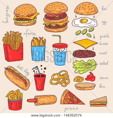 Sketchy fast food illustrations. Vector american food art with burger, hot dog and fries.