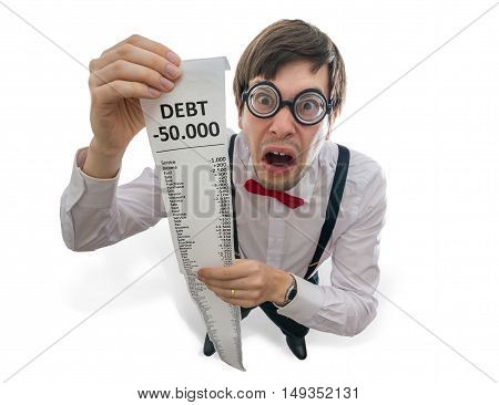 Crazy And Funny Accountant Is Showing Long Receipt Or Bill With