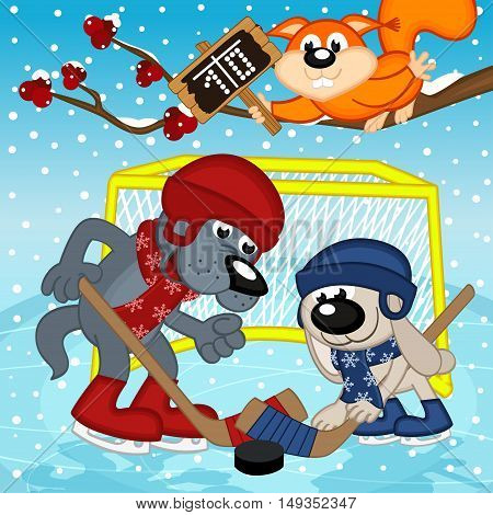 wolf rabbit play hockey - vector illustration, eps