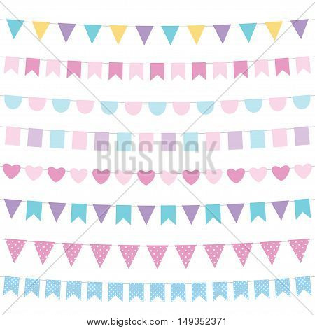 Tender colors bunting set, isolated design elements