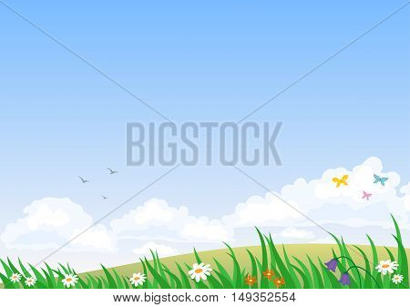 Landscape with summer nature with clear skies, clouds and colors. Vector graphics. Background