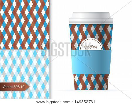 Coffee cup template illustration with the two geometric patterns design in brown and blue color.