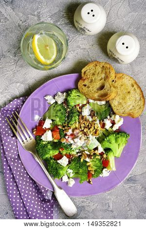 Broccoli Salad With Bell Pepper,feta And Walnuts With Yougurt Dressing.top View.