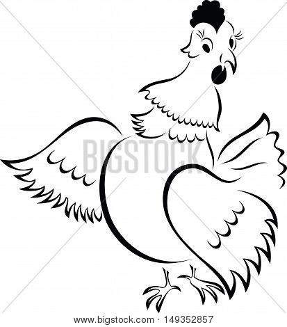 Cartoon Chicken, vector illustration, black and white style