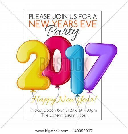Merry Christmas and Happy New Year 2017 party invitation template, illustration. Bright and colorful New Year and Xmas greeting card, poster, banner, invitation design with numbers as balloons