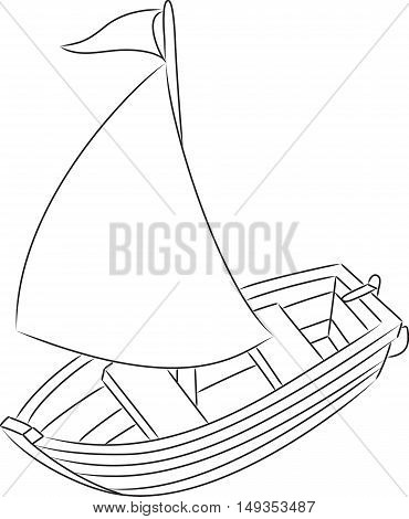 Cartoon sailboat outline. Coloring book. Vector illustration
