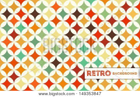 Abstract geometric retro background with colorful circles. Vintage geometric background. Vector Illustration