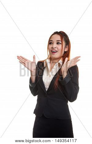 Young Asian Business Woman Is Surprised And Smile.