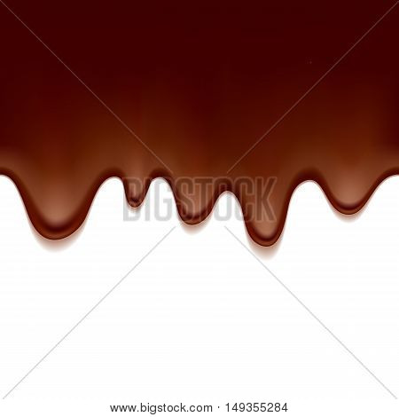 Melted flowing chocolate drips - seamless horizontal background vector illustration.