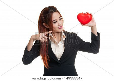 Asian Business Woman Point To Red Heart.