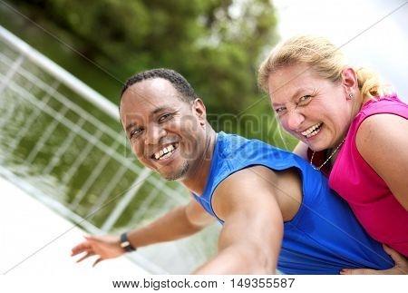 Couple Exercise Happiness Healthy Lifestyle Concept
