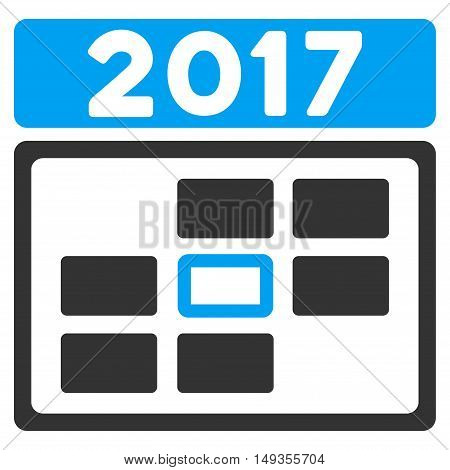 2017 Date icon. Vector style is flat iconic symbol on a white background.