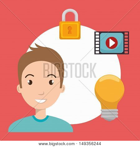 avatar  man smiling with bulb light and padlock and video media player icon. vector illustration
