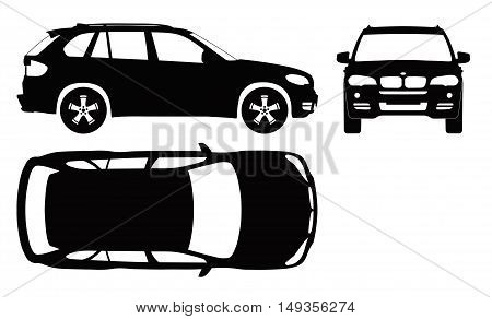 Car projection.Front, top and side. Flat illustration for designing icons
