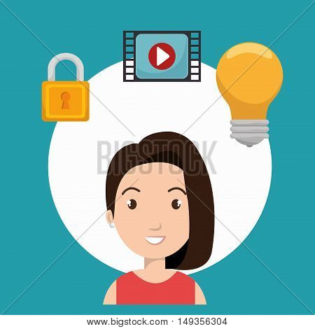 avatar  woman smiling with bulb light and padlock and video media player. vector illustration