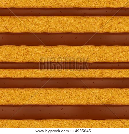 Sponge cake with chocolate cream filling background. Colorful seamless texture. Vector illustration. Good for bakery menu design - poster banner flyer packaging.