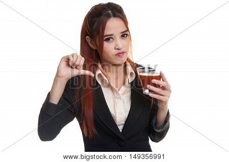 Asian Woman Thumbs Down  Hate Tomato Juice.
