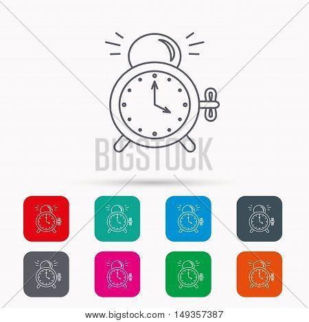 Alarm clock icon. Mechanical retro time sign. Watch with bell symbol. Linear icons in squares on white background. Flat web symbols. Vector
