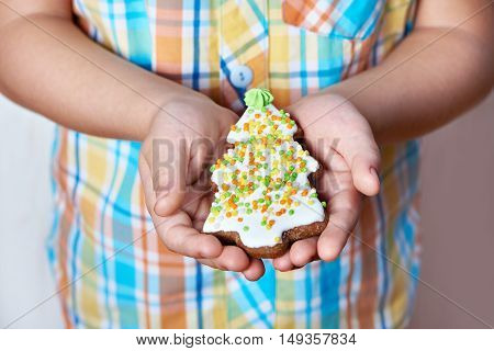 Christmas Cookies In Shape Of Tree Spruce In Palms Of Child