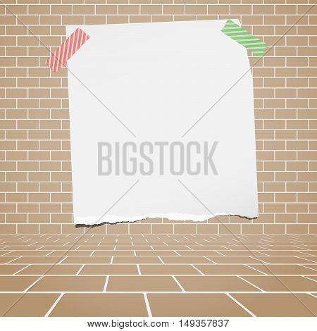 Torn white blank paper stuck on brown brick wall.