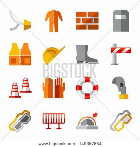 Occupational safety, personal safety, the colored icons. Vector flat image of workwear and safety items. Colored icons on white background.
