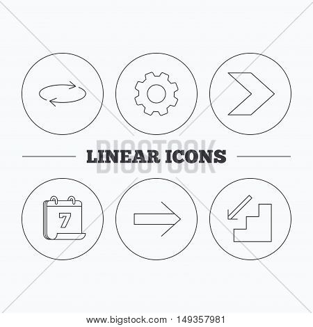 Arrows icons. Downstairs and repeat linear signs. Next arrow flat line icons. Flat cogwheel and calendar symbols. Linear icons in circle buttons. Vector